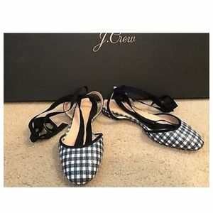 J.CREW GINGHAM ANKLE-WRAP FLATS SIZE 7,5M NAVY G09